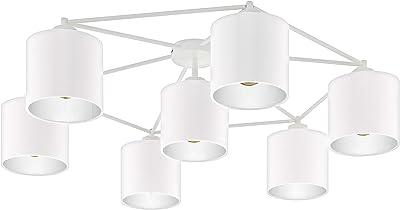 Eglo Plafonnier Staiti - 7 Ampoules - Moderne - en Métal et Textile - Blanc - avec Douille E27 - Diamètre : 84 cm