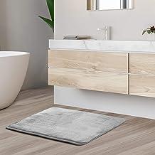 Memory Foam Bathrug ? Light Gray Bath Mat and Shower Rug Small 17 x 24 Inches Non Slip Latex Free Plush Microfiber. Comfor...