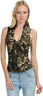 Sexy Female Military Camouflage Vest Jacket Cross-Cut Out Back Side (L-3471)