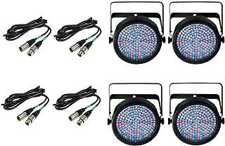 4) Chauvet DJ SlimPar 64 LED Slim Par Can Pro RGB Lighting Effects w/ DMX Cables