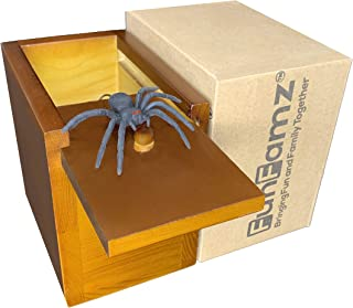 FunFamz The Original Spider Prank Box-Dark Honey Color Stain Hilarious Wooden Box Toy Prank, Funny Money Gift Box Surprise Toy, and Fathers Day Gag Gift Prank