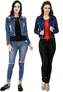 GSAMALL Women's STYLISHT Denim Jacket Combo of Two