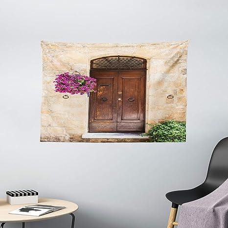 Scenery Tapestry Rusty Wood Door Italian Print Wall Hanging Decor