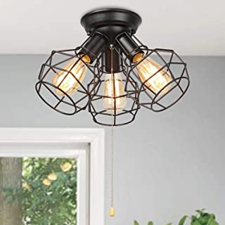 LALUZ Industrial Close to Ceiling Light Fixture Wire Cage...
