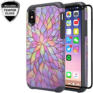Coverlab Cases for Galaxy A30 / A20 w[Tempered Glass Screen Protector] Cute Girls Women Rugged Dual Layer Heavy Duty Protective Phone Cover Compatible for Galaxy A20/A30/A205U Case - Rainbow Flower