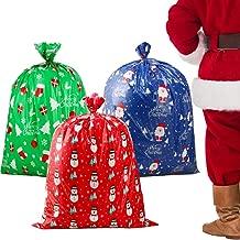 DIYASY 3 Set Jumbo Oversized Christmas Gift Bags,Giant Plastic Bags for Birthday and Party.
