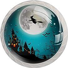 Kabinet lade knoppen Halloween vliegende heks op de volle maan trekt handgrepen voor keuken kast badkamer kast dressoir, 4...