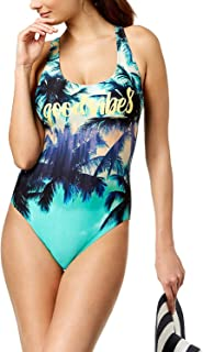 Calvin Klein Women's Good Vibes Tropical Palm Tree One Piece Swimsuit, Multi, X-Small Green
