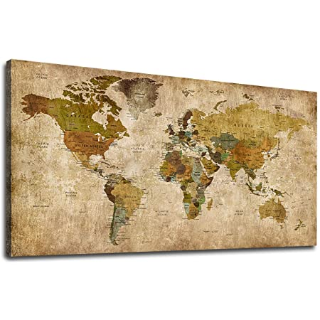 Vintage World Map Canvas Wall Art Picture Large Antiqued Map Of The World Canvas Painting Artwork Prints For Office Wall Decor Home Living Room Decorations Framed Ready To Hang 24 X