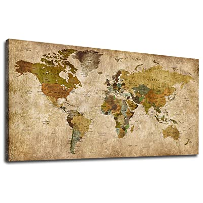 Canvas Wall Art Antiqued World Map Picture Vint...