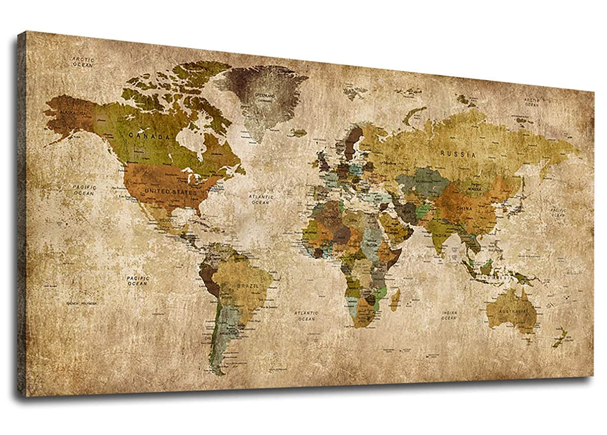Vintage World Map Canvas Wall Art Picture Antiqued Map of The World Canvas Painting Artwork Prints for Office Wall Decor Home Living Room Decorations Framed Ready to Hang 20