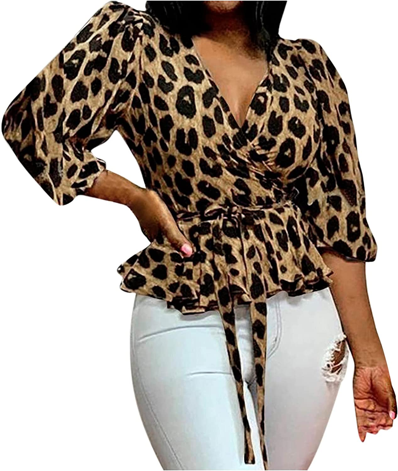 Leopard Short Shirt 2021 new for Women Multi-Layer Sleeve Puff store Wrap Front