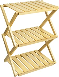 RooLee® 収納棚 キャンプ用品 折り畳み式木製ラック 木製ラック 天然木 【12ヶ月保証期間】