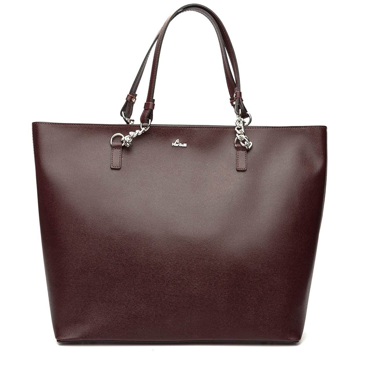 Hard leather bag to carry on the shoulder with handles in leather and chain.If with zip and completely unlined provides inside a pocket for objects.