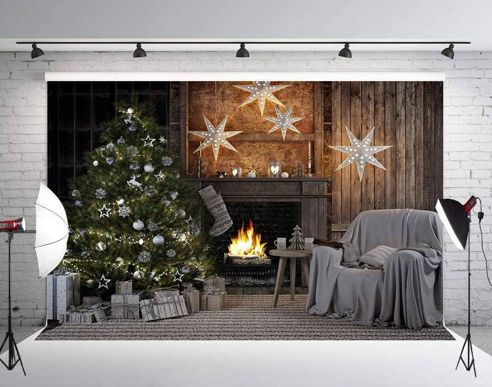 Muzi 70% OFF Outlet Christmas Tree Photo Backdrop Kansas City Mall Fireplace Wo Background Brown