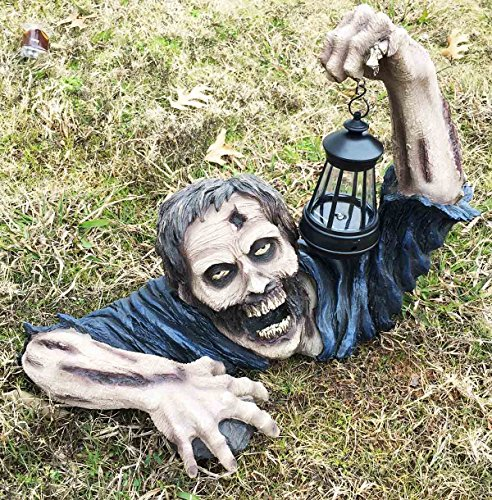Ebros Large Head Shot Zombie Crawling Out Of Grave Solar LED Lantern Figurine 'Dead Rising' 18.5...