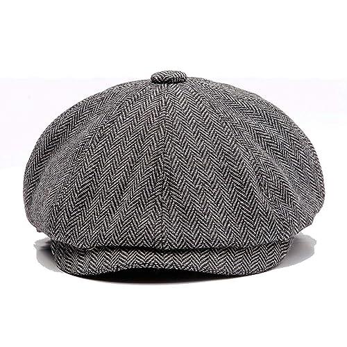 KeepSa Men Visor Woolen Newsboy Beret Caps Outdoor Casual Winter Cabbie Ivy  Flat Hat eb705abb299d