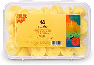 Swaha 1 Hour Burning Time Cow Ghee Diya (16.51 cm x 10.49 cm x 3.99 cm, Set of 30, Yellow)