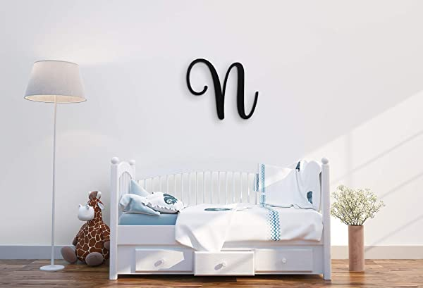 XL Wall Decor Letters Uppercase N 24 Wood Paintable Script Capital Letters For Nursery Home D Cor Wedding Guest Book And More By ROOM STARTERS N 24 Black 3 4 Thick