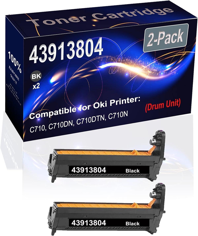 2-Pack (Black) Compatible High Capacity 43913804 Printer Drum Unit Used for Oki C710, C710DN, C710DTN, C710N Printer