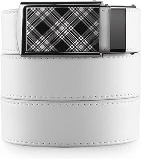 SlideBelts Men's Golf Ratchet Belt - Custom Fit (One Size, White with Plaid Buckle (Vegan)