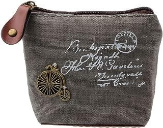 DZT1968(TM) Women Canvas Retro Small Mini Square Eiffel Wallet Coin Purses Clutch Money Pouch Bags Gift (Gray)