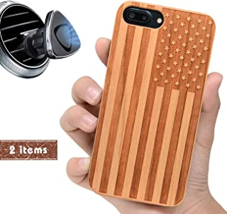 iProductsUS USA Flag Phone Case Compatible with iPhone 8 Plus,7 Plus,6 Plus, 6s Plus and Magnetic Mount-Wood Cases Engrave American Flag Built in Metal Plate,TPU Shockproof Protective Cover (5.5