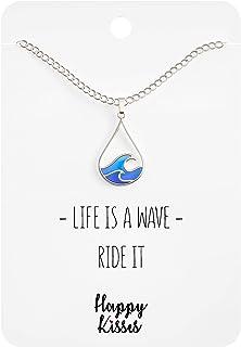 Happy Kisses Ocean Wave Necklace - Cute Drop Shape Pendant for Surfer, Sea Lover, Hawaiian or Beach Enthusiast - Blue Wave...