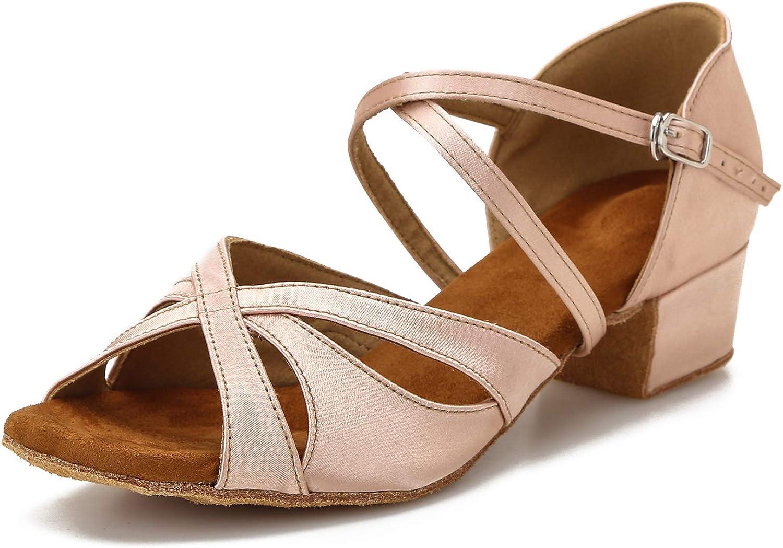 Low Heel Ballroom Dance Shoes Salsa Latin Dancing Shoes for Social Dancer Practice Dancing 1.5 Inch Heel
