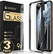 Wanski Screen Protector Compatible for iPhone X & iPhone Xs, Tempered Glass Screen Protector, Bubble Free with Guide Frame/Easy Installation [3 Pack] [5.8 Inch]