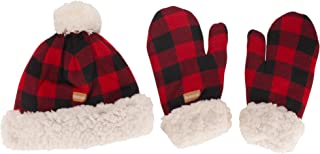 BambooMN Women's Classic Winter Fleeced Thermal Pom Pom Beanie Hat and Mittens Set