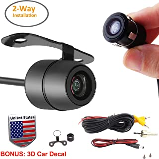 Backup Reverse Camera 2 in 1 Car Universal Multi-Functional Side Front Rearview or Pinhole Spy Camera with 2-Way Installations 16.5mm Removable Reversing Scale Lines-Bonus: US Flag Car Decal