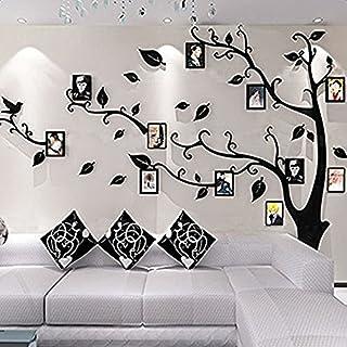 Beau Alicemall Vinilos Arbol Hojas Negro Pegatinas De Pared 1.75*2.3 M Murales  Pared 3D Para