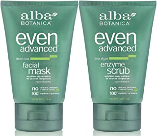 Alba Botanica Even Advanced Bundle, Deep Sea Facial Mask + Sea Algae Enzyme Scrub, 4 Ounce Each