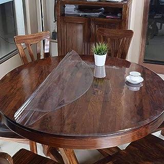 HUANXA Rond Transparent Nappe pour Table à Manger Ronde, PVC Clair Nappe De Table Imperméable Résistant à La Chaleur Prote...