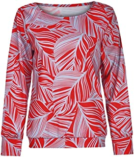 Comaba Women's T Shirts Print Flare Casual Loose Long Sleeve Blouse Top