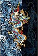 Ed Hardy Blue Dragon - Life Live Luck 36x24 Tattoo Art Print Poster Skull Roses Blue Lady Hidden Images