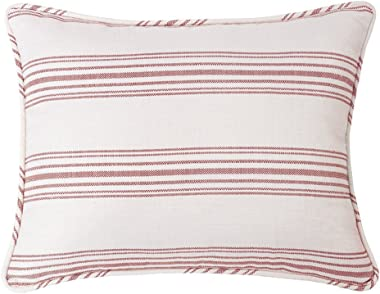 HiEnd Accents Prescott Striped Cottage-Style Pillow Sham, Queen, Red