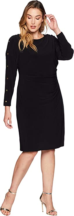 Plus Size Matte Jersey Sagie Long Sleeve Day Dress