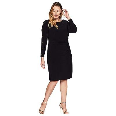 LAUREN Ralph Lauren Plus Size Matte Jersey Sagie Long Sleeve Day Dress (Black/Gold) Women