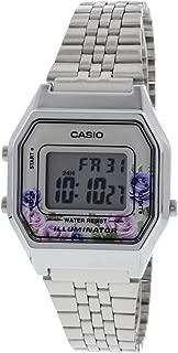 Casio LA680WA-4C Women's Vintage Floral Dial Alarm Chronograph Digital Watch