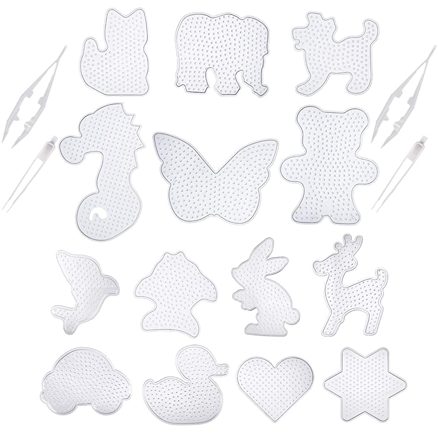 Canomo Fuse Beads Boards 6 Pack 5mm Medium Clear Plastic Pegboards and 8 Pieces 5mm Small Cute Fuse Beads Pegboards with 4 Pieces Fuse Bead Tweezers