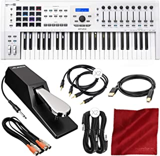 Arturia KeyLab MKII 49 Professional MIDI Keyboard Controller and Software (White) with Sustain Pedal & Assorted Cables Deluxe Bundle