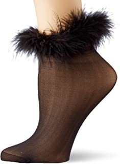 DreamGirl, Marabou-Trimmed Sheer Socks Calcetines, Negro (Black 001), Talla Única para Mujer