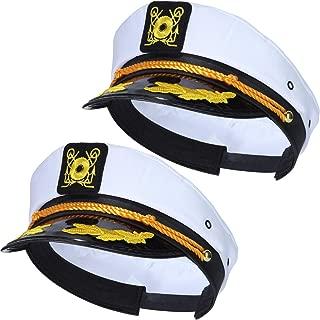 2 Packs Yacht Captain Hats Adjustable Yacht Hats Navy Sailor Hats Captain Cap for Men Women Costume Favor