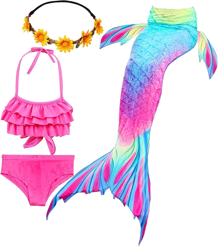 iLyberkiok Cola de Sirena 4 Piezas Trajes de Baño para Niñas Bikini de Natación Traje de Baño Regalo de Cumpleaños de Niña 3-12 años (sin monoaleta)