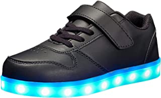 Voovix Kids LED Light Up Shoes Shiny Low-Top Sneakers for Boys and Girls Child Unisex