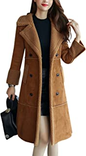 Tanming Women's Winter Sherpa Lined Faux Suede Leather Coat Outerwear