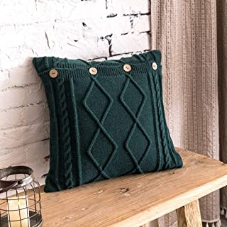 JEANNELIFE Cotton Knitted Decorative Pillow Case Cushion Cover Cable Knitting Patterns Square Warm Throw Pillow Covers (1...