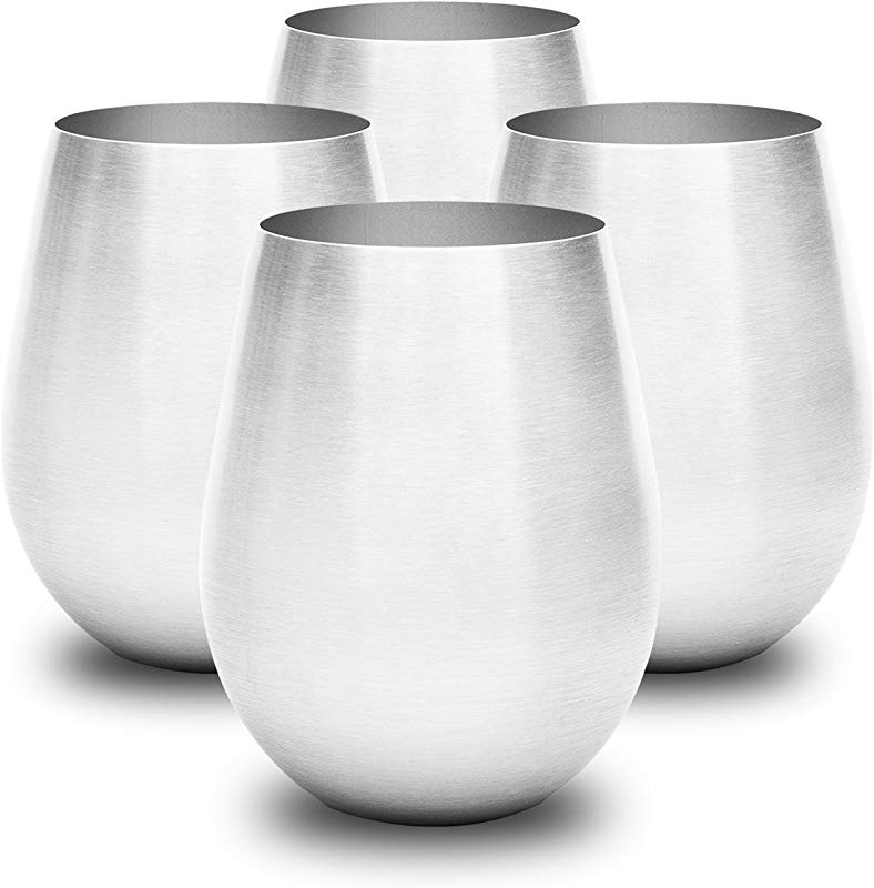 Stainless Steel Wine Glass Set Is Stylish Sturdy Unbreakable Wine Glass Won T Fog Or Scratch Stemless Wine Tumblers Make Great Travel Or Camping Wine Glasses Perfect Gift Easy To Clean Wine Cups